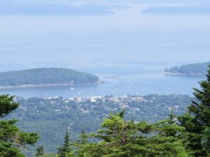 Image of Bar Harbor from atop Cadicllac Mt.