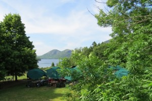 The Bubble as seen from the tea lawn at the Jordan Pond House.