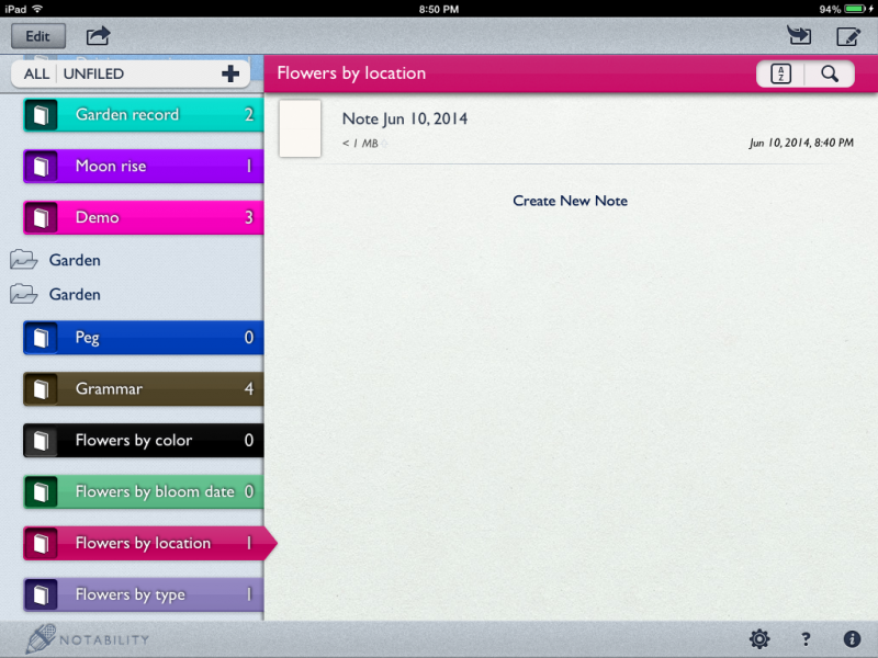 Notability Library -- Show what notebooks you have created.