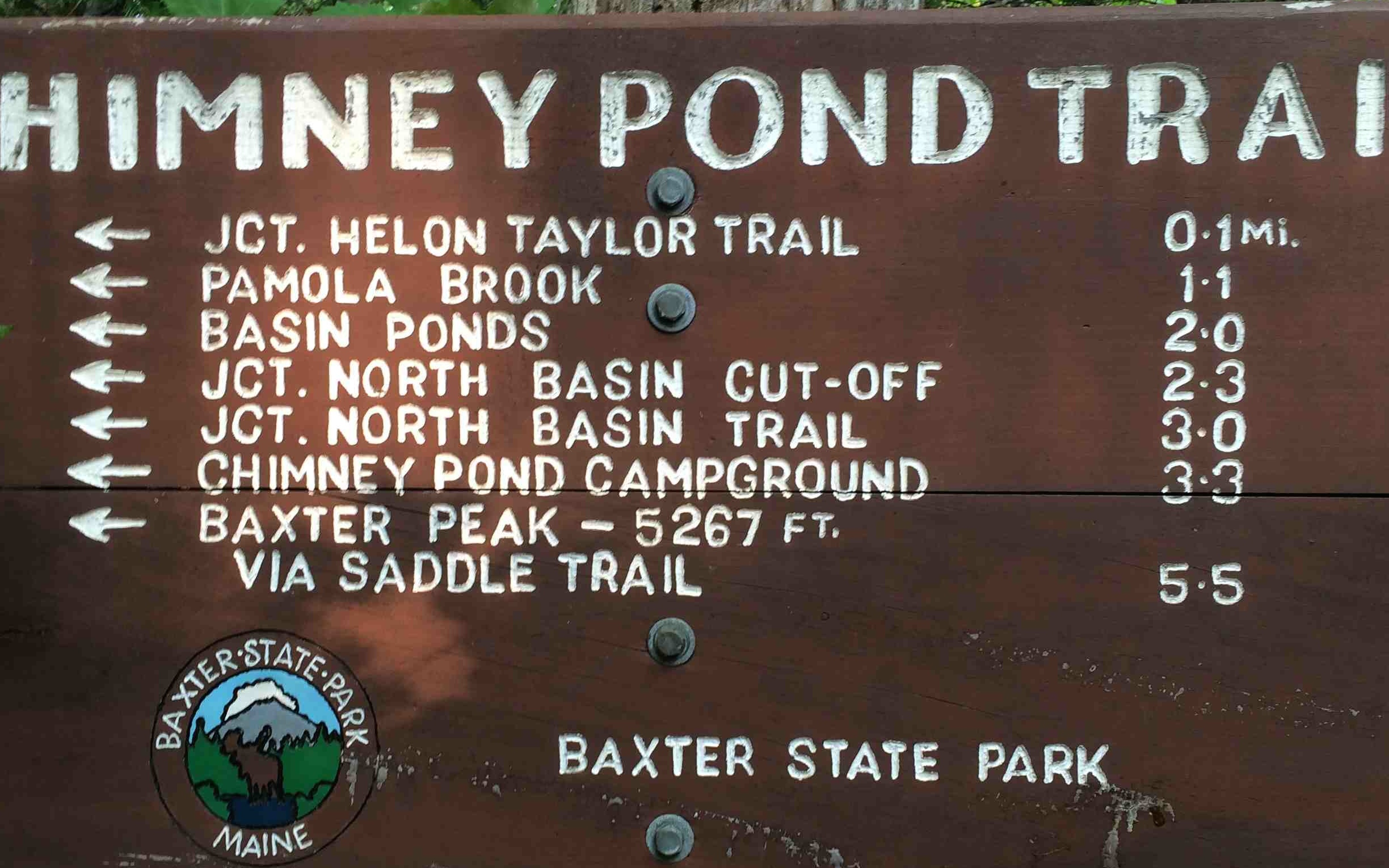Chimney Pond Sign