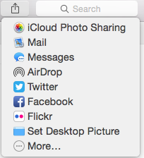 Drop Down Menu for Share Icon