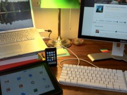 image of devices on desk